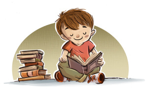 niño leyendo libros
