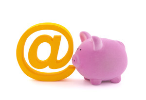 Piggy bank with email symbol