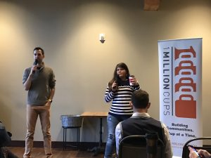 John T Meyer and Addie Graham Kramer speaking at 1 Million Cups Sioux Falls